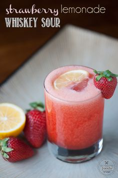 Strawberry Lemonade Whiskey Sour – Dan330 Fun Cocktails, Party Drinks, Summer Drinks, Cocktail Drinks, Alcoholic Drinks, Fun Drinks, Beverages, Whiskey Cocktails, Strawberry Simple Syrup