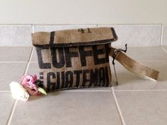 New!! Guatemala burlap clutch purse - burlap wristlet - repurposed coffee bag // Grounds Collection // Lina and Vi