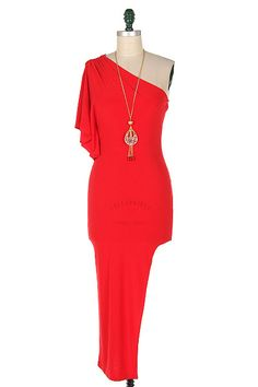 88cf95c0303 Sexy red dress with side leg cut out and one shoulder. Excellent quality!  Polyester
