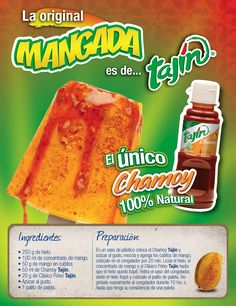 Receta mangada, paleta de mango con Tajin y chamoy Mexican Candy, Mexican Snacks, Mexican Dishes, Mexican Food Recipes, Frozen Desserts, Healthy Desserts, Snack Recipes, Popsicle Recipes, Dessert Recipes