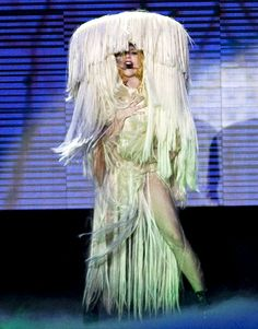Lady Gaga brought her 'Hair' lyrics to life at Palais Omnisports de Bercy on May 21, 2010 in Paris, sporting a head-to-toe human hair-covere...