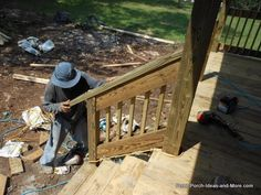 Learn how to build steps for your porch or deck using an instructional guide, video and tips. We show you how it's done so you can assess your own skills and to see what is involved in the step building process How To Build Porch Steps, Deck Steps, Deck Skirting, Woodworking For Mere Mortals, Deck Bar, Wooden Steps, Building A Porch, Custom Decks, Relaxing Places