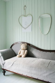 Would love a painted beadboard wall as an accent wall in my living room! Decor, Beadboard, Green Color Trends, Painting Wood Paneling, Green Rooms, Bedroom Design, Eclectic Bedroom, Painted Paneling, Mint Green Walls