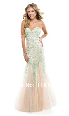 Free shipping Sweetheart Strapless Beaded Long Prom dresses 2014 Mermaid Floor Length Evening Gowns 2014 New Arrival $139.00