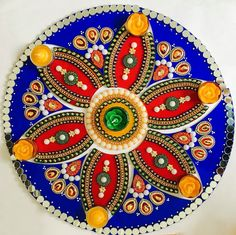 13 piece blue/red rangoli by PalavCreations on Etsy
