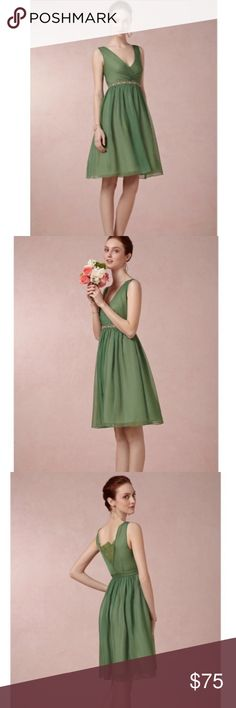 8c0b4e6698432 BHLDN Anthro Exclusive Hitherto Dress Beautiful green dress from Hitherto  which is a BHLDN Anthropologie Exclusive