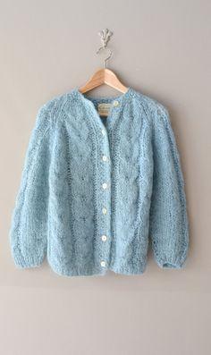 1960s sweater / 60s mohair cardigan
