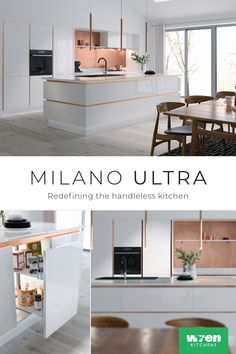 Redefining the Handleless kitchen, Milano with its minimal sleek lines is the ultimate designer range. Kitchen Family Rooms, Home Decor Kitchen, Kitchen Interior, Home Kitchens, New Kitchen Designs, Luxury Kitchen Design, Kitchen Units, Kitchen Layout, Wren Kitchen