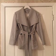 Light Grey Wool-Blend Coat NWT Light Grey Wool Blend Coat.  Double snap & belted closure.  Price is Firm Jackets & Coats Pea Coats