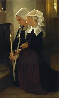 Prayer at Sainte Anne d'Auray, 1869 by William-Adolphe Bouguereau. Neoclassicism. genre painting. Private Collection