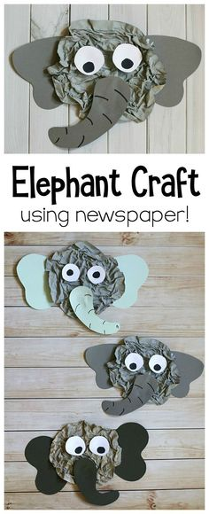 Elephant Craft for Kids Using Newspaper: This elephant art project uses a really fun technique to create actual wrinkles- just like a real elephant! Perfect for a unit on jungle animals, zoo animals, or to go with an Elephant and Piggie book. Great for pr