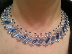 Blue & blue glass and crystal necklace