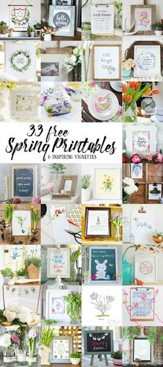 33 Free Spring Printables! Print them, frame them for instant and easy art (or gifts) eclecticallyvintage.com