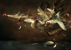 great realistic apocaliptic mood painting! by Ryohei Hase