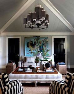 Master ceiling Great colors Love the black doors The black and white stripe chairs Huge ottoman with wood tray