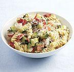Creamy Rotini with Zucchini, Tomato, and Red Pepper
