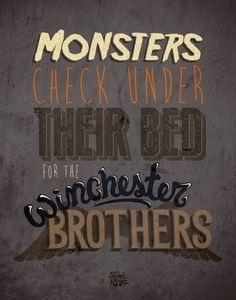 Supernatural Winchester Brothers Monsters Print
