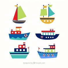 Assortment of six colored boats in flat design Free Vector Boat Drawing, Ship Drawing, Drawing For Kids, Art For Kids, Nautical Logo, Nautical Art, Preschool Logo, Planet Crafts, Kids Boat