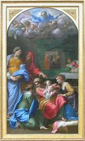 Birth of the Virgin  1605–09  H. 2.79 m; W. 1.59 m  This painting was commissioned in 1605 by Cesare d'Este, duke of Modena, but was never delivered to him and was still among the possessions of Annibale Carracci on his death. Between 1628 and 1633 it was placed in a chapel in the basilica of Loreto, before being replaced by a mosaic copy. It was subsequently brought to France in 1797.