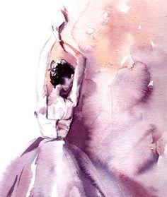 Pintura acuarela Original de la bailarina Ballet por CanotStop