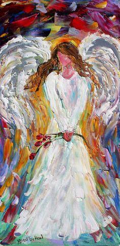 Original oil painting SPRING ANGEL palette knife by Karensfineart