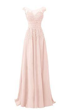 Ivydressing Damen Elegant Spitze Applikation Rundkragen A-Linie Chiffon&Tuell lang Promkleid Festkleid Abendkleid-36-Hellrosa
