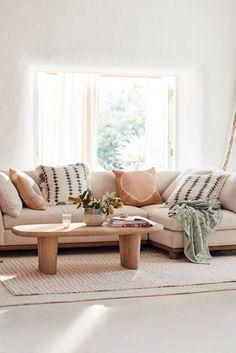 Boho Living Room, Home And Living, Living Room Decor, Living Spaces, Modern Small Living Room, Living Rooms, Bedroom Decor, Contemporary Living Room Furniture, Anthropologie