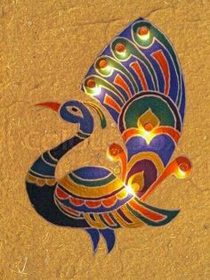 This Diwali, try different Rangoli designs and designs which will lighten up your house. Indian Rangoli Designs, Colorful Rangoli Designs, Rangoli Designs Images, Beautiful Rangoli Designs, Gond Painting, Peacock Painting, Peacock Art, Fabric Painting, Peacock Design