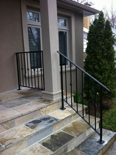 metal stair railing for front step pipe railing