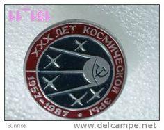 SPACE: 30 anniversary first space satellite soviet 1957y / old soviet badge USSR_151_sp7394 - rare