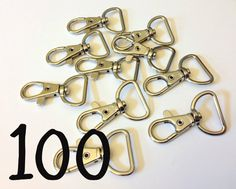 Silver Tone Swivel Lobster Clasps wholesale - 42 mm by 25 mm, 100 pcs, clips perfect for bags, key chains, wallets, wristlets, key fobs