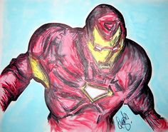 """Ironman"" Drawing/Watercolor 2015 - indiaSheana www.indiaSheana.com"