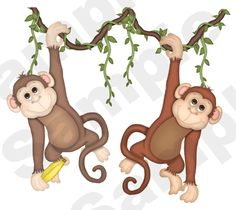 "Jungle Monkeys for Noahs Ark Nursery Wall Mural measures 20"" Tall and 23"" Wide."