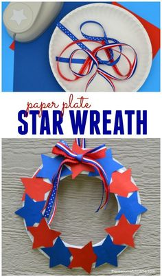 This paper plate star wreath is a fun, easy, and inexpensive patriotic craft kids can make for Memorial Day and Independence Day. Kids Crafts, Crafts For Seniors, Daycare Crafts, Toddler Crafts, Preschool Crafts, Craft Projects, Craft Kids, Hero Crafts, Senior Crafts