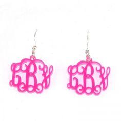 Monogrammed Earrings. Select color MonogrammedGiftsandStationery.com
