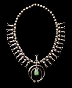 Dine (Navajo, Arizona), Squash Blossom Necklace, turquoise/silver, c. 1890.