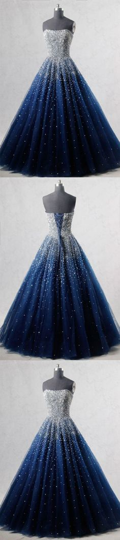 BLUE SWEETHEART SEQUIN TULLE LONG PROM DRESS, BLUE EVENING DRESS M2069