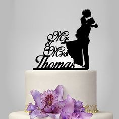 Personalized Wedding Cake Topper Silhouette Bride by walldecal76