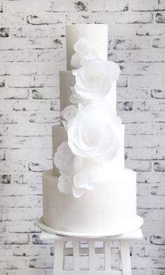 Wedding Cake Inspiration – Sweet Bakes – MODwedding – About Wedding Dresses Marie's Wedding, White Wedding Cakes, Elegant Wedding Cakes, Elegant Cakes, Beautiful Wedding Cakes, Wedding Cake Designs, Wedding Cake Toppers, Beautiful Cakes, Purple Wedding