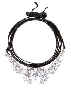 Fallon Monarch Leather Wrap Choker: Jagged edge marquise-shaped white cubic zirconia set in polished rhodium-tone brass details are the floral centerpiece on this 71 length self tie black leather strap ...