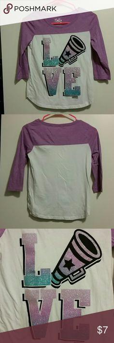 Justice cheer tshirt 12 Cute sparkly cheer tshirt size 12 Shirts & Tops