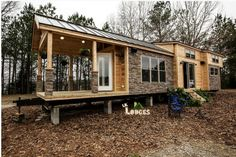 As seen on Tiny House Nation May 25th episode. This is a 400sf tiny house that accommodates 2 adults and two children; dining for up to 12; a full kitchen with Island; luxury bath; indoor/outdoor living; totally wired and wireless. Built for the family by Lil Lodges in Alabama then trucked to NY state. If you are a family of two, no second floor is needed so you could have vaulted ceilings throughout. Cost to build/furnish: $100K