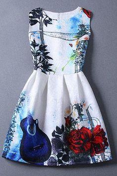 Vintage Women's Round Collar Violin Print Sleeveless Dress