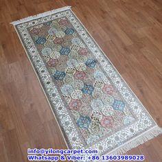 B04 2.5' x 6' Persian Rug, Silk Face and Silk Fringe, 324kpsi Handmade Rug Made By Yilong Carpet. Color:Red, Blue, White, Light Blue, Light Green, Light Brown etc.  Flower Pattern.