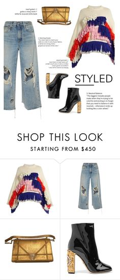 """""""How to Style Distressed Denim Jeans with a Cozy Sweater"""" by outfitsfortravel ❤ liked on Polyvore featuring Delpozo, R13 and Dolce&Gabbana"""