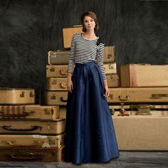 Cheap Simple Maxi elegante falda azul marino oscuro de satén palabra de longitud falda larga, Compro Calidad Faldas directamente de los surtidores de China: