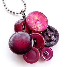 Cranberry Upcycled Vintage Button Jewelry Pendant at Etsy.com