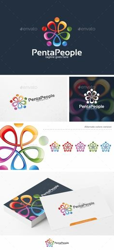 Penta People Logo Template100 Re-sizable vector 100 Editable text Easily customizable colors AI & EPS documents  For any modifi