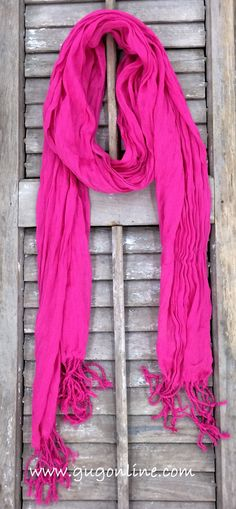 Hot Pink Crinkle Scarf