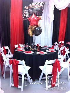 Hollywood Birthday Party tables!  See more party ideas at CatchMyParty.com!